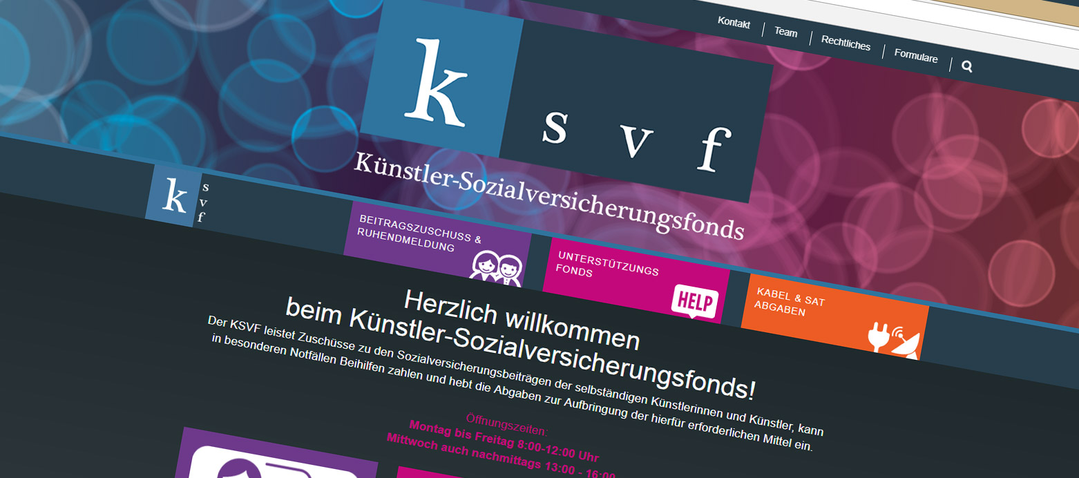Screenshot der KSVF Homepage