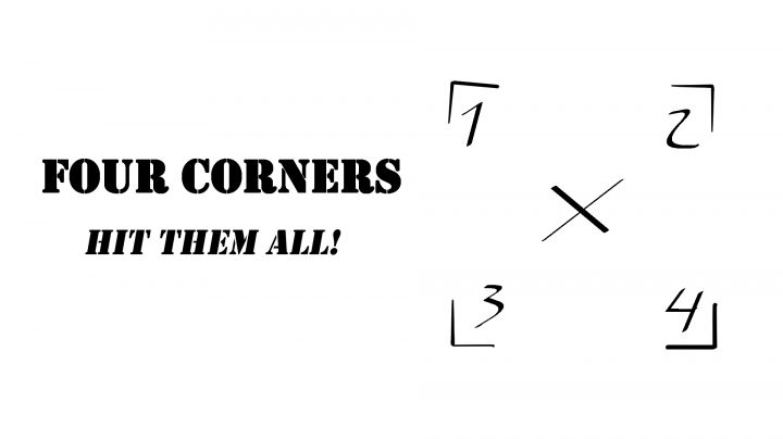 "A sketch of a square with the titlle ""four corners"""