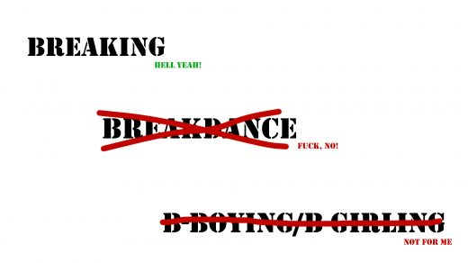 Illustration with Breakdance and B-Boying/B-Girking crossed out