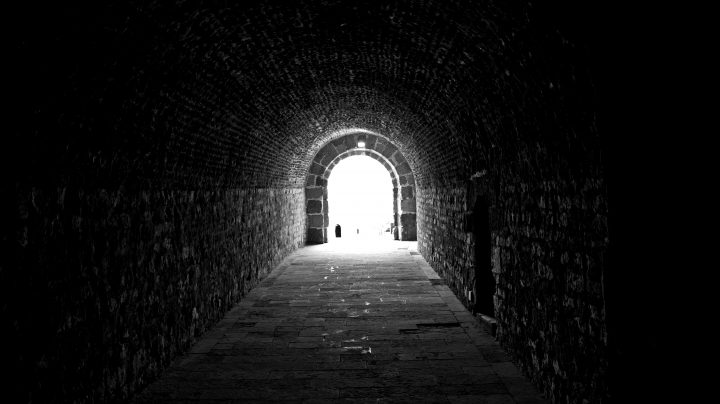 In a tunnel your focus only goes to the end: tunnel-vision